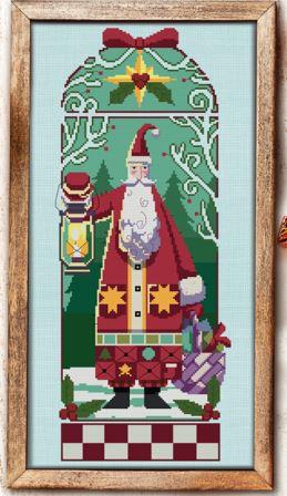 Autumn Lane Stitchery - Woodland Santa-Autumn Lane Stitchery - Woodland Santa, Santa Claus, Christmas, trees, forest, children, gifts, cross stitch