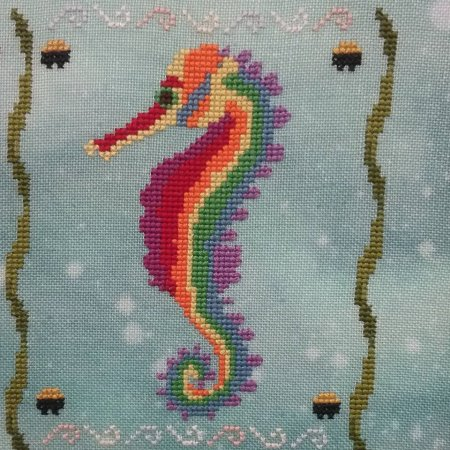 Fireside Originals - A Year of Seahorses 03 - March - Lucky-Fireside Originals - A Year of Seahorses 03 - March - Lucky, sealife, ocean, fish, water, cross stitch