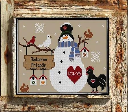 Twin Peak Primitives - Frosty's Welcome-Twin Peak Primitives - Frostys Welcome, snowman,  winter, crow, snow, cross stitch