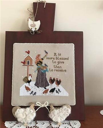 Twin Peak Primitives - Feeding the Chickens-Twin Peak Primitives - Feeding the Chickens,farm, worker, animals, chicken coup, cross stitch