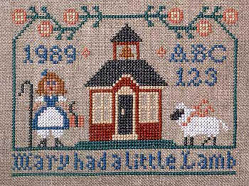 Prairie Schooler - Mary had a Little Lamb-Prairie Schooler - Mary Had a Little Lamb, nursery rhyme, children, lamb, sheep, cross stitch