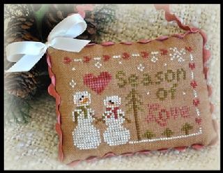 Little House Needleworks - Ornament of the Month 2012 - No. 11 - Season of Love-Little House Needleworks,Ornament of the Month 2012, No. 11, Season of Love, snow people, snowman, love, heart, trees, Christmas Tree, Christmas ornament, Cross Stitch Pattern