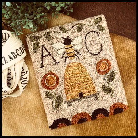 Little House Needleworks - Bee Garden - Punch Needle-Little House Needleworks - Bee Garden - Punch Needle, queen bee, bee hive, punch, primitive, honey,