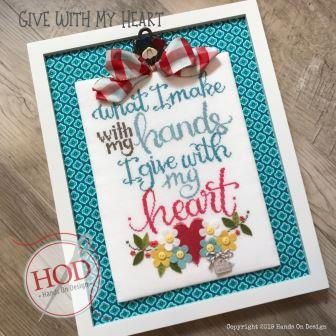 Hands On Design - Give With My Heart-Hands On Design - Give With My Heart , hearts, flowers, hand made, gingham, Tammy Tutterow,