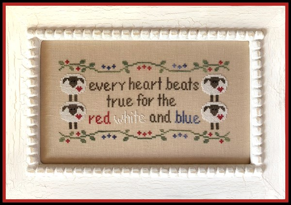 Country Cottage Needleworks - Every Heart-Country Cottage Needleworks - Every Heart, SHEEP, RED, WHITE, BLUE, usa, CROSS STITCH
