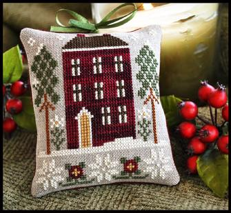 Little House Needleworks - Ornament of the Month 2010 - Red House in Winter-Little House Needleworks, Ornament of the Month 2010, Red House in Winter, A cross stitch pattern of a red brick house, wintertime and snow,