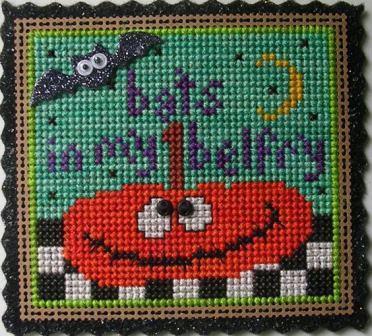 Val's Stuff - Bat in My Belfry - Limited Edition Halloween Ornament Kit-Vals Stuff - Bat in My Belfry - Limited Edition Halloween Ornament Kit, Halloween, tomato,bat, ornament, cross stitch
