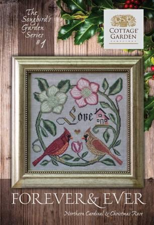 Cottage Garden Samplings - Songbird's Garden Part 1 - Forever & Ever-Cottage Garden Samplings - Songbirds Garden Part 1 - Forever  Ever, love , birds, flowers, cross stitch