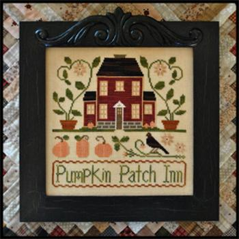 Little House Needleworks - Pumpkin Patch Inn - Cross Stitch Pattern-Little House Needleworks, Pumpkin Patch Inn, pumpkin, house, crow, black bird, Inn, flowers, Cross Stitch Pattern