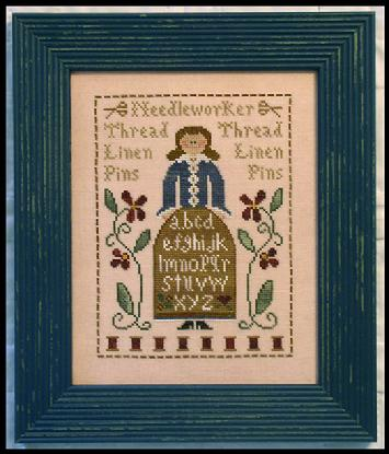 Little House Needleworks - The Sampler Lady-Little House Needleworks - The Sampler Lady, sewing, samplers, alphabet, flowers, spools of thread,