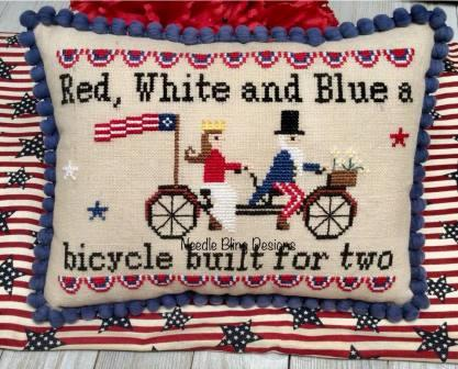 Needle Bling Designs - Bicycle Built for 2-Needle Bling Designs - Bicycle Built for 2, red, white  blue, USA, patriotic, American Flag, cross stitch