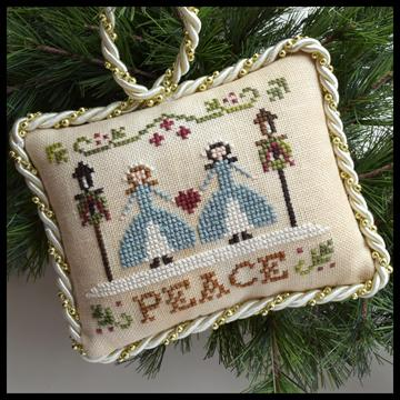 Little House Needleworks - The Sampler Tree - Part 07 - Peace-Little House Needleworks - The Sampler Tree, Peace, ornaments, Christmas, sisters, blue dresses,cross stitch,