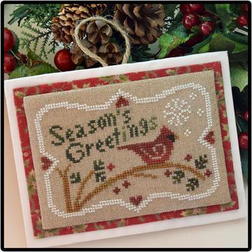Little House Needleworks - Season's Greetings - Cross Stitch Pattern-Little House Needleworks, Seasons Greetings, cardinal, Christmas, Christmas ornament, Christmas card, Cross Stitch Pattern