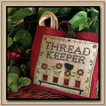 Little House Needleworks - Thread Keeper-Little House Needleworks - Thread Keeper, flowers, spools, threads, needles, cross stitch,