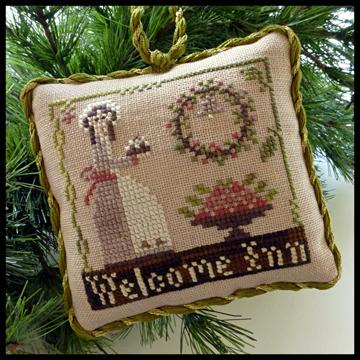 Little House Needleworks - The Sampler Tree - Part 09 - Welcome Inn-Little House Needleworks - The Sampler Tree, Welcome Inn, ornaments,baking, wreathe, mother, guests,