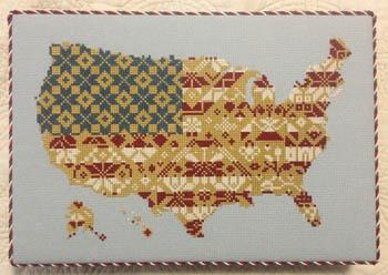 AuryTM - American Pride-AuryTM - American Pride, map, USA, America, patriotic, cross stitch