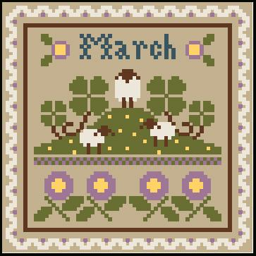 Little House Needleworks - Sampler Months - March & April Thread Packs-Little House Needleworks - Sampler Months - March  April Thread Packs, lambs, sheep, rain, umbrella, april showers, cross stitch