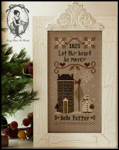 Little House Needleworks - Be Merry - Belle Pepper-Little House Needleworks,Be Merry - Belle Pepper, house, hearts, snow, tree, winter, snowflake, Cross Stitch Pattern