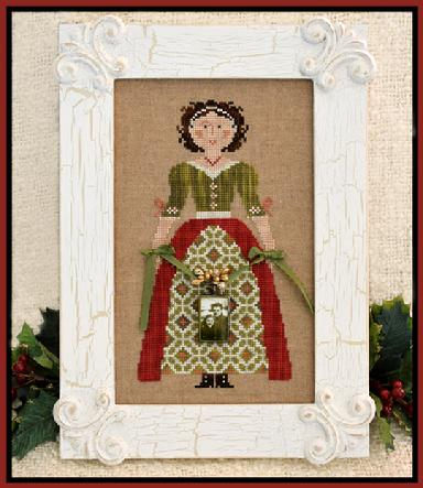 Little House Needleworks - My Lady at Christmas - Cross Stitch Pattern-Little House Needleworks, My Lady at Christmas, proper lady, Cross Stitch Pattern