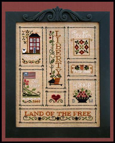 Little House Needleworks - Heart of America Thread Pack-Little House Needleworks - Heart of America Thread Pack, patriotic, USA, freedom, liberty, honor, old glory, peace, cross stitch