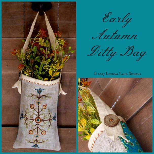 Lindsay Lane Designs - Early Autumn Ditty Bag - Limited Edition Kit-Lindsay Lane Designs - Early Autumn Ditty Bag - Limited Edition Kit, primitive, flowers, puch,