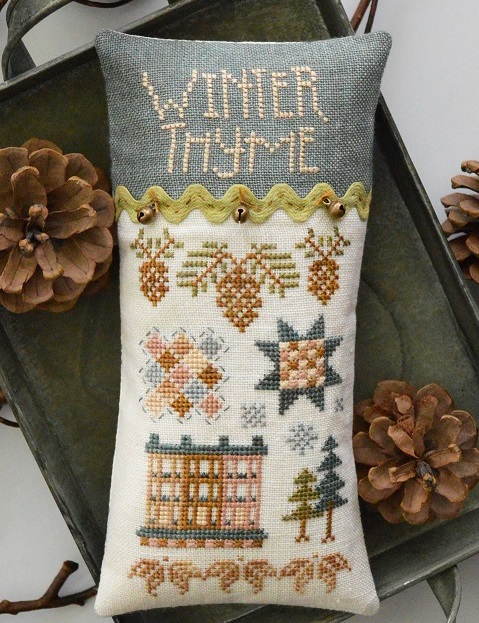 Hands On Design - Winter Thyme-Hands On Design - Winter Thyme, pin cushion, winter, quilt, acorn, house, cross stitch