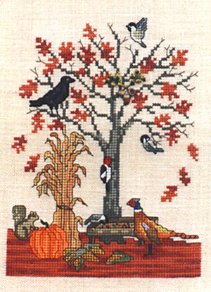 Crossed Wing Collection - Autumn Feeder-Crossed Wing Collection - Autumn Feeder,  pumpkin, fall, leaves, pheasant, cross, cross stitch