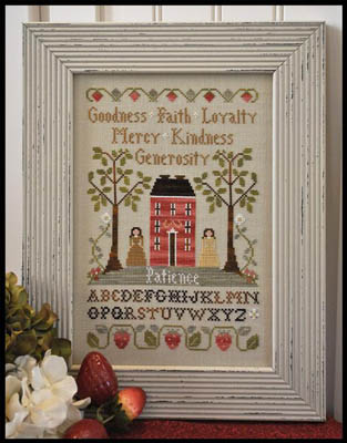 Little House Needleworks - Virtue Sampler-Little House Needleworks, Virtue Sampler, house, morals,the 7 virtues, patience, goodness, faith, loyalty, mercy, kindness, generosity, Cross Stitch Pattern