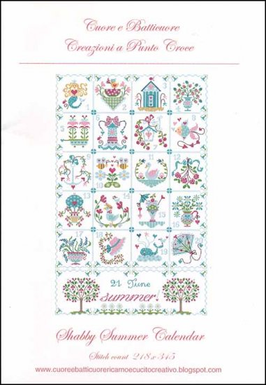 Cuore e Batticuore - Shabby Summer Calendar-Cuore e Batticuore - Shabby Summer Calendar, summertime, decorations, calendar, sunshine, mermaid, flowers, cross stitch