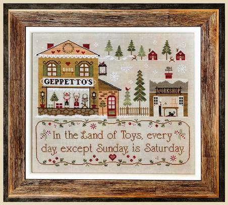 Little House Needleworks - Geppetto's-Little House Needleworks - Geppettos, Pinocchio, wooden doll, fairy tale, puppet, boy, story, cross stitch, toy shop,