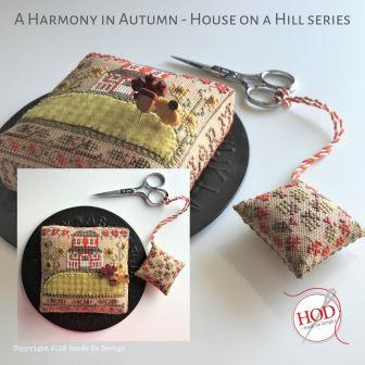 Hands On Design - House on a Hill - A Harmony in Autumn-Hands On Design - House on a Hill - A Harmony in Autumn, fall, leaves, pincushion, cross stitch,