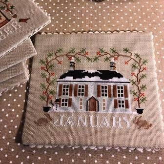 Twin Peak Primitives - I'll Be Home Mystery Series - Part 001 - January Cottage-Twin Peak Primitives - Ill Be Home Mystery Series - January Cottage, calendar, monthly, cross stitch