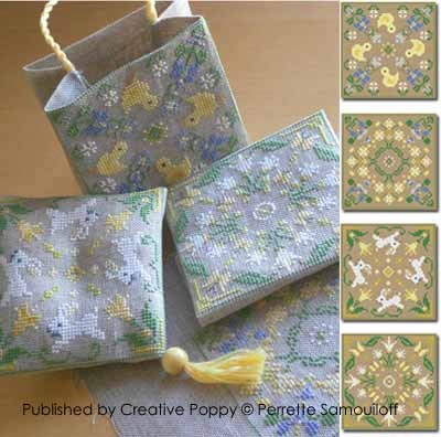 Creative Poppy - Perrette Samouiloff - 4 Motifs for Spring Ornaments-Creative Poppy - Perrette Samouiloff - 4 Motifs for Spring Ornaments Cross,Stitch, Patterns, Spring, Easter, Chicks, flowers, butterflies, bag,pincushion,