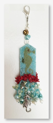 Fern Ridge Collections - Sally's Seahorse-Fern Ridge Collections - Sallys Seahorse, beads, scissor fob, ocean, cross stitch, beading,