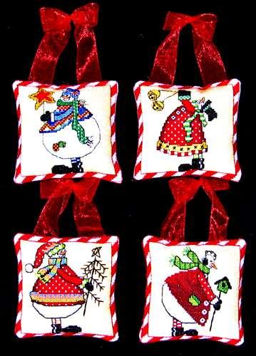 Bobbie G. Designs - Four Snowmen Ornaments - Cross Stitch Kit