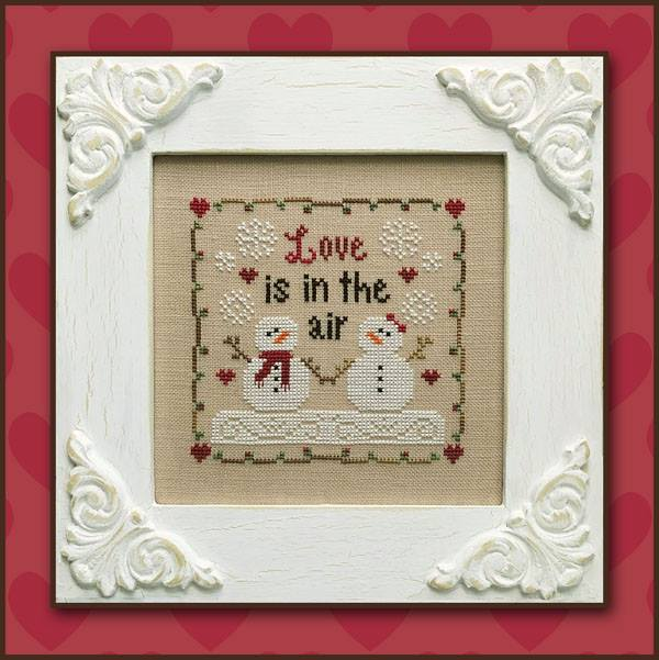 Country Cottage Needleworks - Love is in the Air-Country Cottage Needleworks - Love is in the Air, Valentines Day, snowman, snowlady, love, marriage, cross stitch