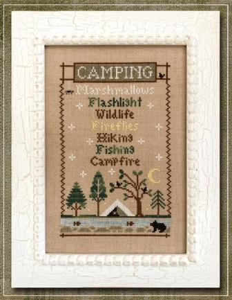 Country Cottage Needleworks - Camping Trip-Country Cottage Needleworks - Camping Trip, Marshmallows, flashlight, wildlife, fireflies, hiking, fishing  campfire, cross stitch