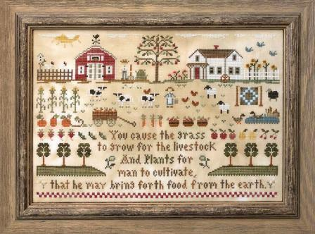 Little House Needleworks - Farm Life-Little House Needleworks - Farm Life, sampler, cows, praise, fields, farm, house, farmers, cross stitch