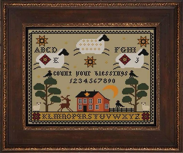 Twin Peak Primitives - Count Your Blessings-Twin Peak Primitives - Count Your Blessings, sheep, sleepy, count sheep, moon, home, cross stitch