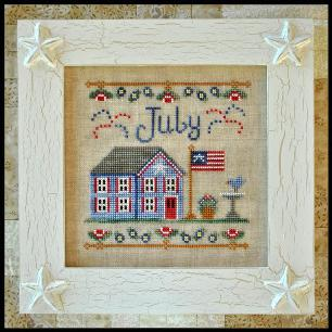 Country Cottage Needleworks - Cottage of the Month 07 - July Cottage-Country Cottage Needleworks - Cottage of the Month 07 - July Cottage - Cross Stitch Pattern, patriotic, 4th of july