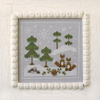 Country Cottage Needleworks - Frosty Forest - Part 6 - Snowy Foxes-Country Cottage Needleworks, Frosty Forest, Part 6 of 9, Snowy Foxes, winter, fox, houses, trees, Cross Stitch Pattern