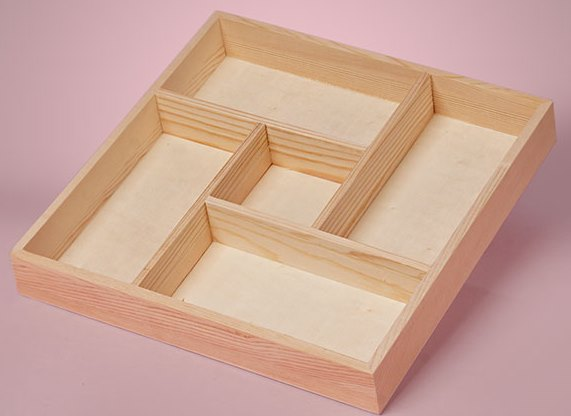 Wood Crafters - Wood Tray - 5 Section Medium-Wood Crafters - Wood Tray - Pine 5 Section, display box, crafts, cross stitch