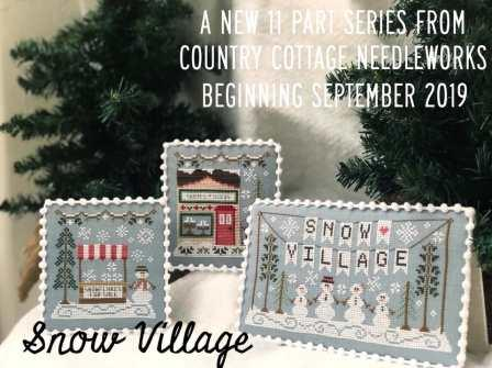Country Cottage Needleworks - Snow Village - Part 1 Snow Village Banner-Country Cottage Needleworks - Snow Village - Part 1 Snow Village Banner, snowman, winter, series, snowflakes, cross stitch