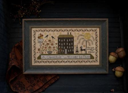 Plum Street Samplers - A Ghoultide Welcome - Cross Stitch Pattern-Plum Street Samplers, A Ghoultide Welcome, Halloween, Fall, pumpkins, A Ghoultide Welcome to Thee, Cross Stitch Pattern