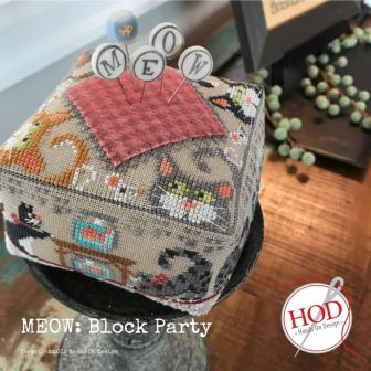 Hands On Design - Block Party - Meow-Hands On Design - Block Party - Meow, kitty, pin cushion, cats, feline, cross stitch
