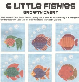 Finger Step Designs - 6 Little Fishies Growth Chart - Cross Stitch Pattern-Finger Step Designs, 6 Little Fishies Growth Chart, fish, ruler, measuring tape, children, growing, tall, bubbles, Cross Stitch Pattern