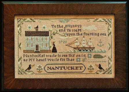 Little House Needleworks - Old Nantucket - Cross Stitch Chart-Little House Needleworks, Old, Nantucket, Cross,Stitch,Chart,Whale, Sea, house,ship, lady,bird, anchor,love,flowers
