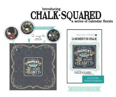 Hands On Design & Just Another Button Co - A Moment In Chalk - Chalk Squared Monthly Series - Centerpiece-Hands On Design  Just Another Button Co, A Moment In Chalk  Chalk Squared Monthly Series - Centerpiece, chalk series, flowers, monthly flowers, cross stitch