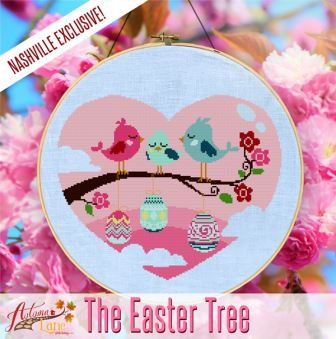 Autumn Lane Stitchery - The Easter Tree-Autumn Lane Stitchery - The Easter Tree, cross stitch, Easter, heart, birds, spring, Easter eggs,