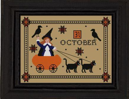 Twin Peak Primitives - Halloween Parade-Twin Peak Primitives - Halloween Parade, trick or treat, pumpkin, black cats,  cross stitch